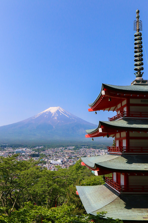 chureito: Mt. Fuji with Chureito Pagoda in Summer, Fujiyoshida, Japan