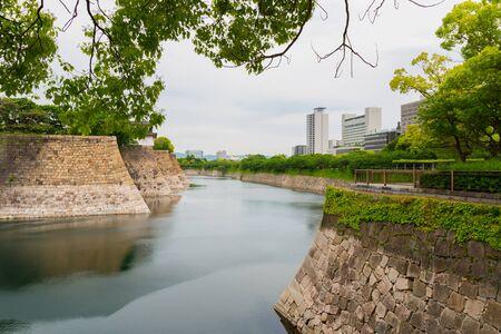 general store: Wall outside of Osaka castle is historic landmark in osaka city japan in summer.