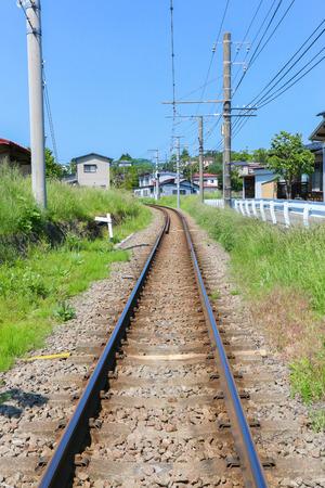 railway transportation: Single railway in countryside for transportation Stock Photo