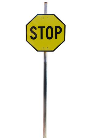 octagonal: Yellow Stop Sign, Isolated Traffic Regulatory Warning Signage Octagon, black Octagonal Frame isolated on white background. Object with clipping path.