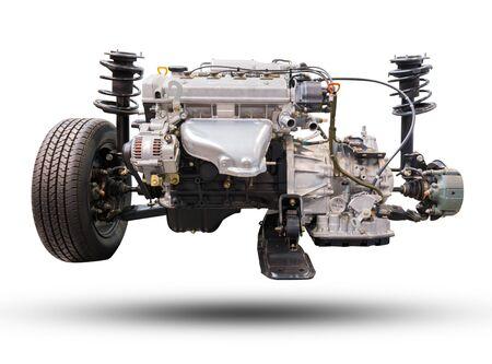 poleas: De cerca los detalles de la pieza del motor del coche. Concepto sobre la industria del negocio de automóviles. fábrica de motores y empresa de automóviles. Foto de archivo
