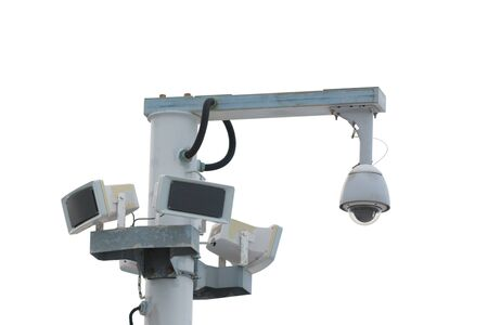 ip cam: Security camera post isolated on white background.