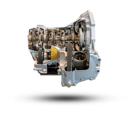 자동차 엔진 부품 흰색 배경에 고립입니다. 클리핑 패스와 함께 개체입니다. 스톡 콘텐츠