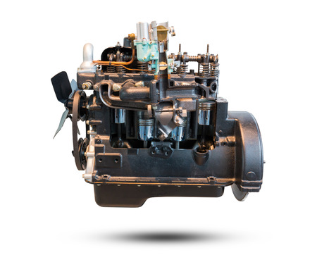 Car engine part isolated on white background. Object with clipping path. Stock Photo
