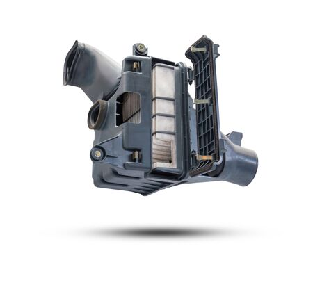 air cleaner: Car air cleaner with Panel-type element (Non-Woven Fabric) isolated on white background. Object with clipping path.