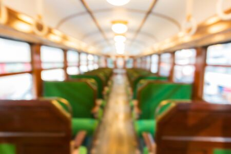 stateroom: Abstract blurred Inside of train with empty seats business transportation interior blur background. Stock Photo