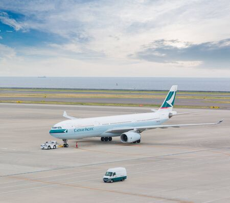 chubu: AICHI, JAPAN - JUNE 26, 2016: Cathay Pacific in Chubu Centrair International Airport Japan, Cathay Pacific is the flag carrier of Hong Kong, with its head office and main hub located at Hong Kong International Airport.