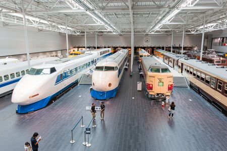 simulators: NAGOYA, JAPAN - JULY 10, 2016: The SCMaglev and Railway Park features 39 full-size railway vehicles and one bus exhibit, train cab simulators, and railway model dioramas Editorial