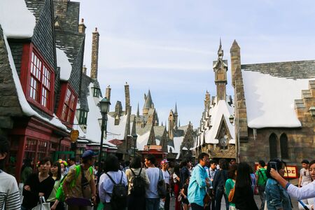 witchcraft: OSAKA, JAPAN - May 5, 2016: Universal Studios Japan (USJ). Theme Hogwarts School of Witchcraft and Wizardry in Harry Potter. located in Osaka, is one of four Universal Studios theme parks, owned and operated by USJ Co., Ltd. Editorial