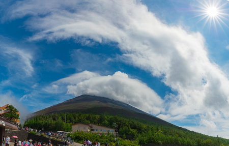 YAMANASHI, JAPAN - JULY 23, 2016 : Fuji fifth station. The tourist and the Mountaineer group at The Fuji Subaru Line 5th Station (also known as Yoshidaguchi 5th Station or Kawaguchiko 5th Station)