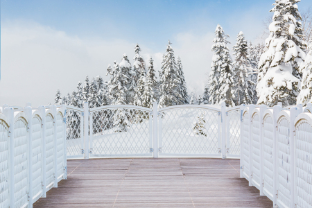 White balcony with perspective wood floor on nature background.