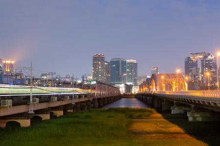 Landscape view of osaka city at Umeda from across the Yodogawa River.