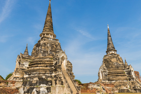 Ayutthaya historical park covers the ruins of the old city of Ayutthaya,  Wat phra si sanphet. Phra nakhon si ayutthaya Province, Thailand