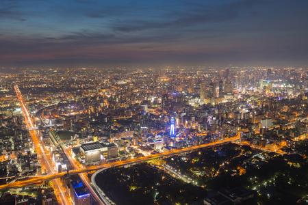 Osaka cityscape beautiful night view of Shinsekai districts, Tennoji, Osaka, Japan. view from Abeno harukas building.