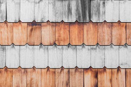 Pattern of overlap shingle wood texture background. Vintage style.