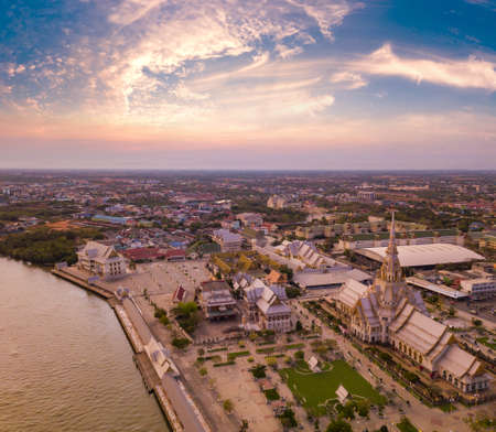 Aerial view Landscape sunset of Wat Sothon Wararam Worawihan, Religious tourist attraction and famous temple in Cha Choeng Sao Province Thailand.