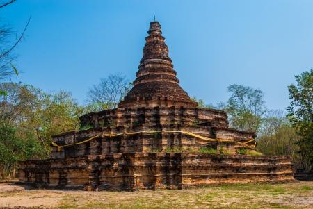 tha: Pagoda of Ton Kok Temple, Wieng Tha Kan, in Lanna History  Part of Thailand Stock Photo