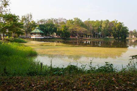 pavillion: Waterfront pavillion over green lake