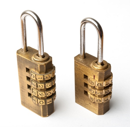 cryptogram: Pair of golden code master key, isolated