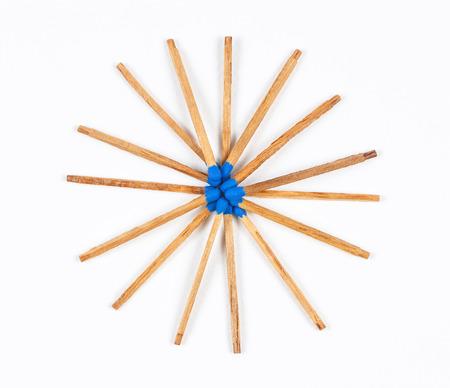 match head: Round Pile of Dark Blue Matchsticks