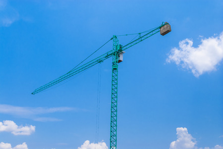 counterweight: Aqua Crane with Cabin and Concrete Counterweight  Stock Photo