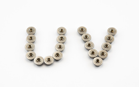U and V Alphabet, Created by Stainless Steel Hex Flange Nuts. photo