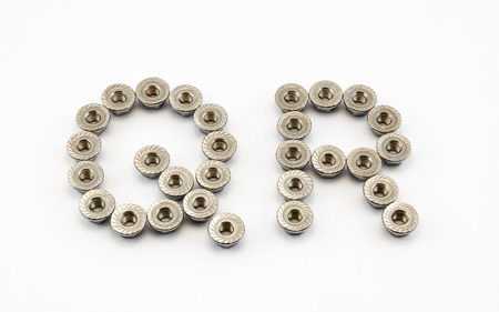 Q and R Alphabet, Created by Stainless Steel Hex Flange Nuts. photo