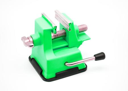 vise: Verde Tornillo de banco de pl�stico con ventosa. Foto de archivo