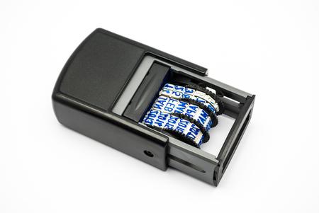 stamper: Blue Ink Plastic Date Stamper.