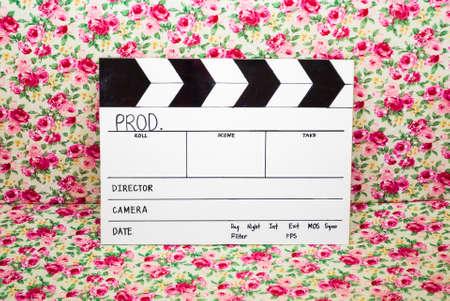 directors cut: Homemade Slate Film in Rose Background.