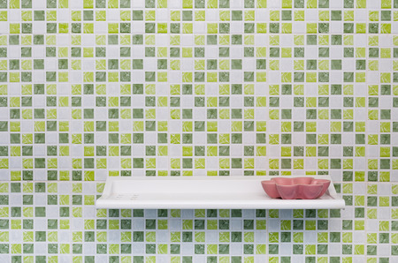 shelve: Green Square Tile Wall with Shelve and Soap Dish Stock Photo