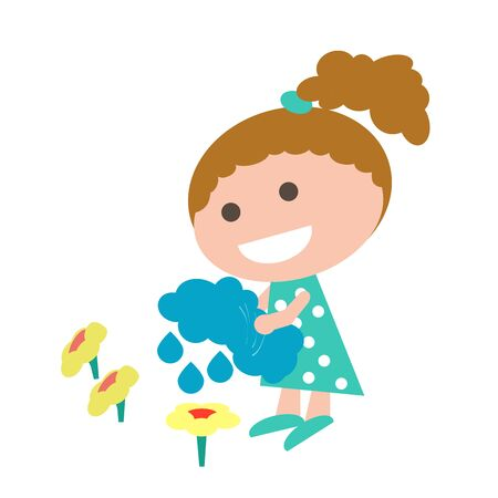 vector illustration hand-drawn cartoon girl watering a flower with water from a cloud, holding it in her hands instead of a watering can. Free nature care symbolic simple freehand drawing