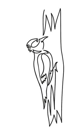 woodpecker on a tree vector illustration on a white background Иллюстрация