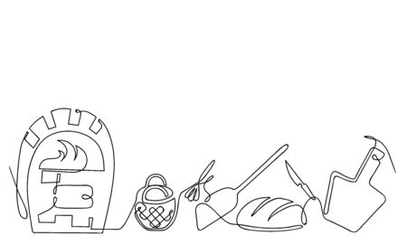 Continuous line drawing vector baker set