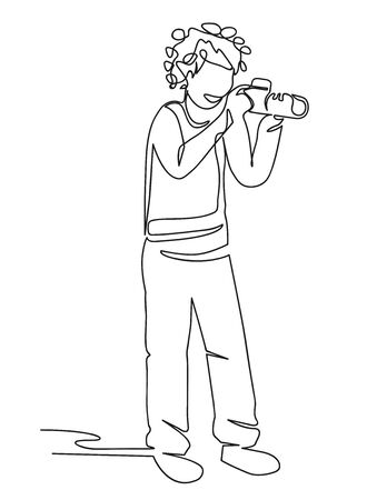 Man using a continuous line drawing camera. Male worker, designer, stands hand-drawn character. Young boy photographs minimalistic outline illustration