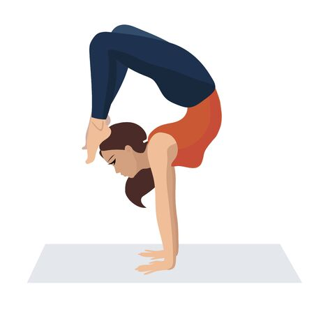 A young woman doing yoga strength exercises.