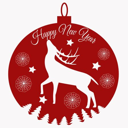 New Year 2019 greeting card with hand drawn silhouette a deer.