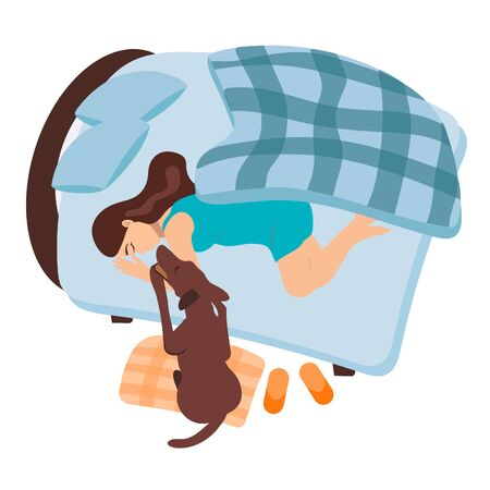 A girl wakes up in the morning. The dog wakes up a pregnant woman. The girl with her pet is sleeping in bed. Turquoise morning before giving birth. Checkered blanket.