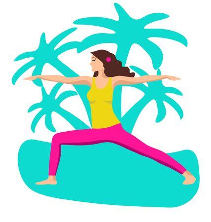 Vector illustration The girl is engaged in yoga and calm down on the background of palm trees. Relax, a good concept of time management. Flat design on white background