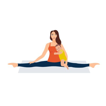 Vector illustration on white background. Asanas with twine in yoga. Beautiful young woman doing stretching gymnastic exercises. A woman sits with a baby in her arms. Yoga mom plus baby