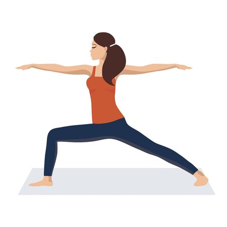 Vector illustration The girl is engaged in yoga and calm down. Relax, a good concept of time management. Flat design on white background