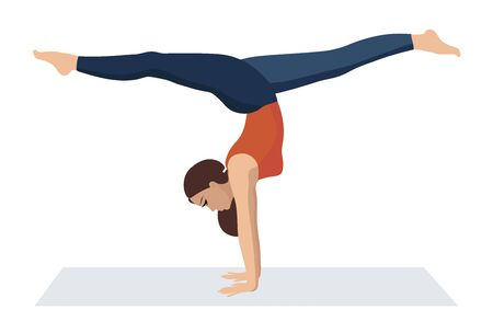 Vector illustration on white background. Handstand asanas with twine in yoga. Beautiful young woman doing yoga strength exercises. Ilustração