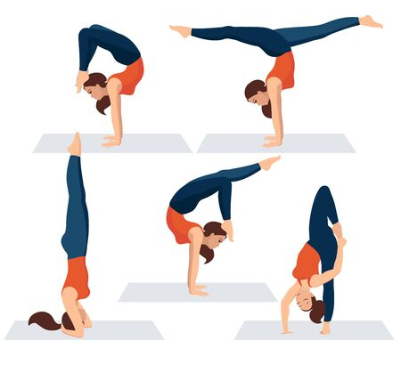 Vector illustration on white background. Set of various yoga asanas. Beautiful young woman in several poses of yoga. A woman in a sporty orange T-shirt and leggings relaxes. Heandstand exercises Ilustracja