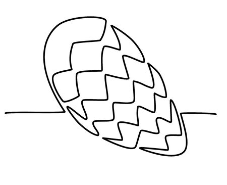 pine cone lies on the table. Hand-drawn picture of one continuous line. Vector isolated hand-drawn illustration on a white background. Healthy Diet Fruits