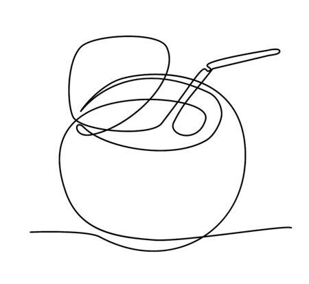 coconut fruit in one solid line vector illustration Illustration