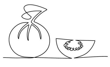 guava farang fruit one solid line vector illustration