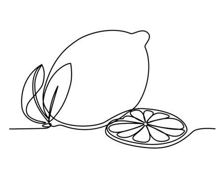 lemon and slice in one solid line Illustration
