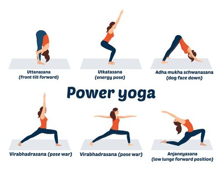 Set asanas, power yoga poses, dynamic muscle exercises, color vector hand-drawn illustration of sports activities on a white background. Beautiful girl is training in physical education