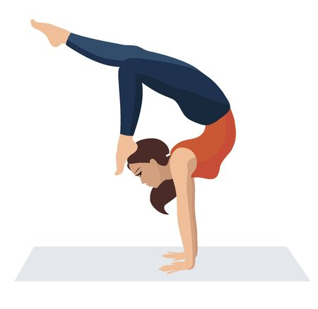 Vector illustration on white background. Handstand asanas with scorpion stand in yoga. Beautiful young woman doing yoga strength exercises. Woman in sporty orange t-shirt and leggings relax.