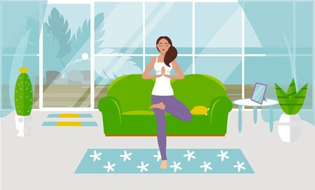 A vector illustration A girl practices yoga in a tree pose at home, in a cozy living room. Design of a modern room with furniture and accessories. Large window, glass door, exit to the courtyard Ilustração